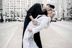 in deep water - sailors kissing