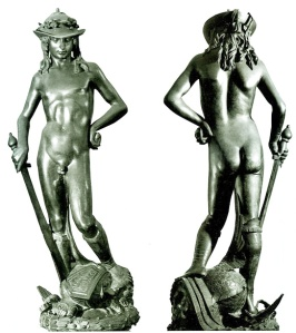 "Donatello's ""David and Goliath"" located in the  Bargello, Florence."