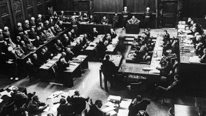 A view of the courtroom (International Military Tribunal), the so-called 'Nuremburg Trail'